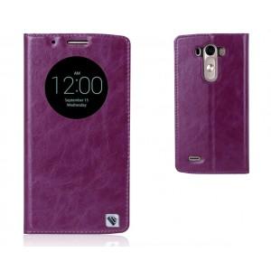Кожаный глянцевый чехол флип подставка с круглым окном вызова на пластиковой основе для LG G3 (Dual-LTE) Фиолетовый