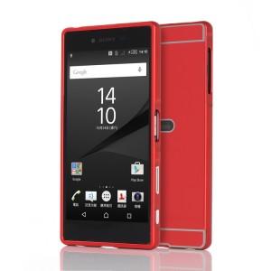 Двухкомпонентный чехол с металлическим бампером и поликарбонатной накладкой с отверстием для лого для Sony Xperia Z5 Premium Красный