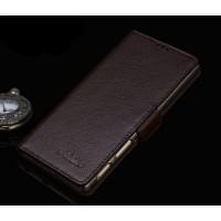 Кожаный чехол портмоне подставка (нат. кожа) для Sony Xperia Z5 Premium Коричневый