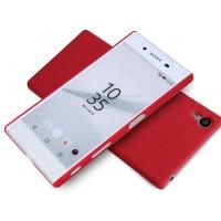 Пластиковый матовый нескользящий премиум чехол для Sony Xperia Z5 Premium Красный