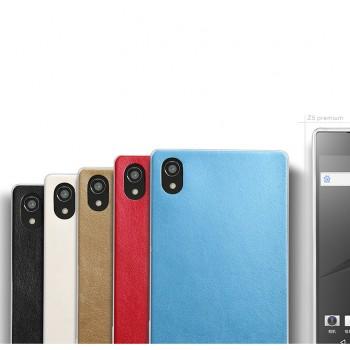 Гибридный силиконовый чехол с имитационным кожаным покрытием для Sony Xperia Z5 Premium