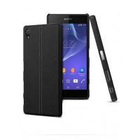 Пластиковый дизайнерский чехол накладка с кожаным прошитым покрытием для Sony Xperia Z5 Premium Черный