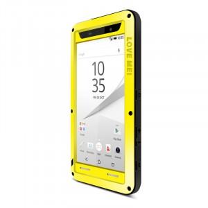 Антиударный пылевлагозащищенный гибридный премиум чехол силикон/металл/закаленное стекло для Sony Xperia Z5 Premium Желтый