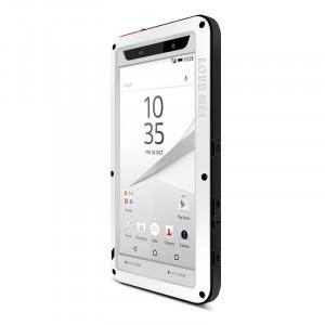 Антиударный пылевлагозащищенный гибридный премиум чехол силикон/металл/закаленное стекло для Sony Xperia Z5 Premium Белый