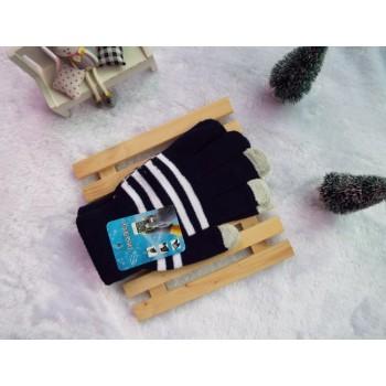 Хлопковые-акриловые сенсорные (трехпальцевые) перчатки дизайн Полосы Темно-Синие