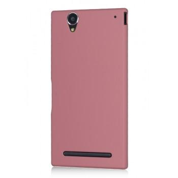 Пластиковый матовый металлик чехол для Sony Xperia T2 Ultra (Dual) Розовый
