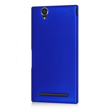 Пластиковый матовый металлик чехол для Sony Xperia T2 Ultra (Dual) Синий