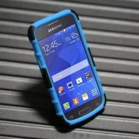 Силиконовый премиум чехол с поликарбонатной крышкой и встроенной подставкой для Samsung Galaxy Ace 4 Синий