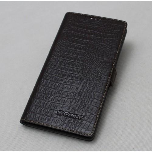 Кожаный чехол портмоне (крокодил) для Sony Xperia M2 dual