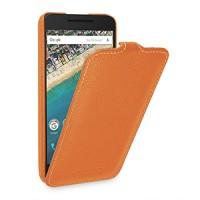 Кожаный чехол вертикальная книжка (нат. кожа) для Google LG Nexus 5X Оранжевый