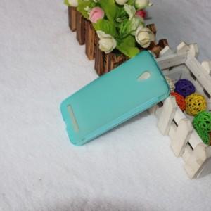 Силиконовый матовый полупрозрачный чехол для ASUS Zenfone C Голубой