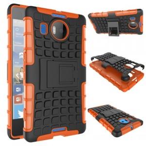 Антиударный силиконовый чехол экстрим защита с подставкой для Microsoft Lumia 950 XL Оранжевый