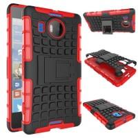 Антиударный силиконовый чехол экстрим защита с подставкой для Microsoft Lumia 950 XL Красный