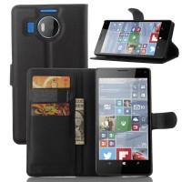 Чехол портмоне подставка с защелкой для Microsoft Lumia 950 XL Черный