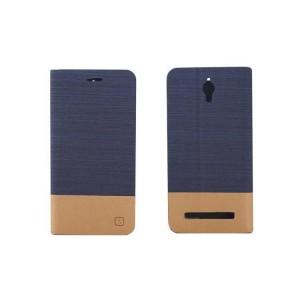 Дизайнерский чехол флип подставка на силиконовой основе с тканевым покрытием с внутренним карманом для ASUS Zenfone C Синий