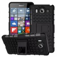 Антиударный гибридный чехол экстрим защита силикон/поликарбонат с ножкой-подставкой для Microsoft Lumia 950 Черный