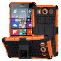 Антиударный гибридный чехол экстрим защита силикон/поликарбонат с ножкой-подставкой для Microsoft Lumia 950 Оранжевый