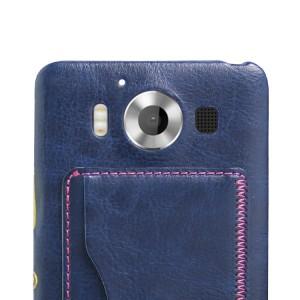 Дизайнерский чехол накладка с подставкой и отделениями для карт для Microsoft Lumia 950 Синий