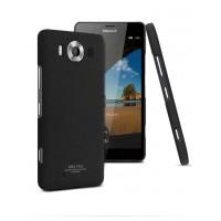 Пластиковый матовый чехол с повышенной шероховатостью для Microsoft Lumia 950 Черный