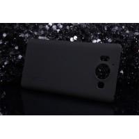 Пластиковый матовый нескользящий премиум чехол для Microsoft Lumia 950 Черный