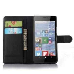 Чехол портмоне подставка с защелкой для Microsoft Lumia 950 Черный
