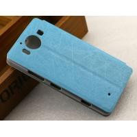 Текстурный чехол флип подставка на пластиковой основе с присоской для Microsoft Lumia 950 Синий