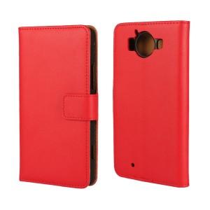 Чехол портмоне подставка на пластиковой основе с защелкой для Microsoft Lumia 950 Красный