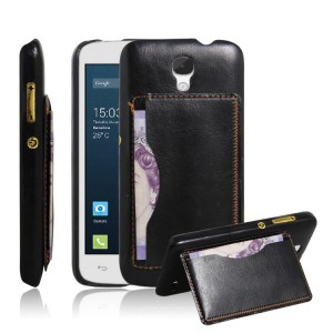 Дизайнерский чехол накладка c подставкой и отделениями для карт для Alcatel One Touch Pop 2 (4.5) Черный