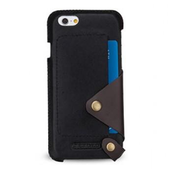 Эксклюзивный дизайнерский кожаный чехол накладка (нат. кожа) с отделениями для карт и дизайнерской защёлкой на кнопке для Iphone 6 Plus/6s Plus