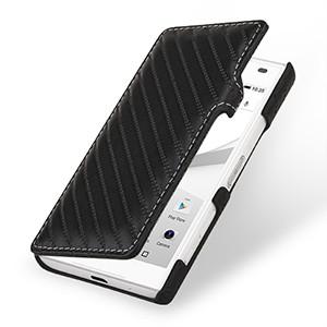 Эксклюзивный прошитый кожаный чехол горизонтальная книжка (нат. кожа) с крепежной застежкой для Sony Xperia Z5 Compact Черный