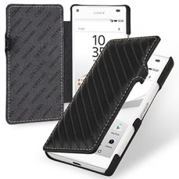 Эксклюзивный прошитый кожаный чехол горизонтальная книжка (нат. кожа) с крепежной застежкой для Sony Xperia Z5 Compact
