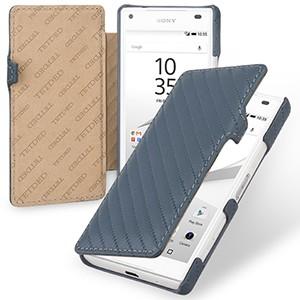 Эксклюзивный прошитый кожаный чехол горизонтальная книжка (нат. кожа) с крепежной застежкой для Sony Xperia Z5 Compact Голубой