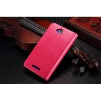 Чехол портмоне подставка из глянцевой кожи с магнитной застежкой вперед для Sony Xperia C Пурпурный