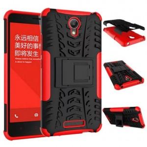 Антиударный гибридный чехол экстрим защита силикон/поликарбонат для Xiaomi RedMi Note 2 Красный