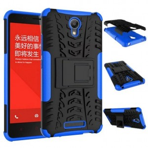 Антиударный гибридный чехол экстрим защита силикон/поликарбонат для Xiaomi RedMi Note 2 Синий