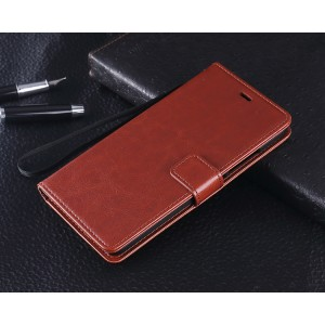 Чехол портмоне подставка с защелкой для Xiaomi RedMi Note 2 Коричневый