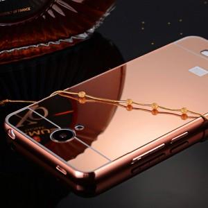 Гибридный металлический двухкомпонентный чехол с поликарбонатной крышкой с зеркальным покрытием для Xiaomi RedMi Note 2 Розовый