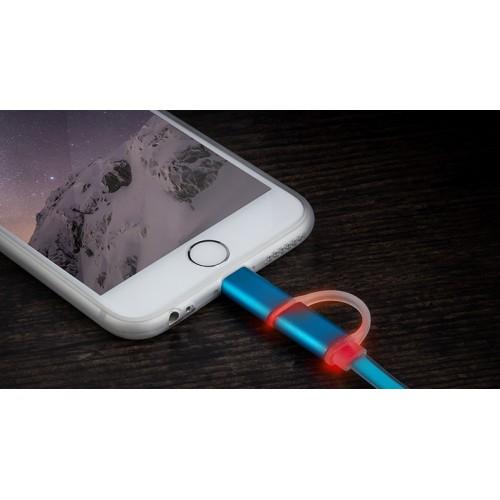 Сверхпрочный двухканальный силиконовый кабель USB-MicroUSB/Lightning 1 м с LED-индикацией процесса зарядки