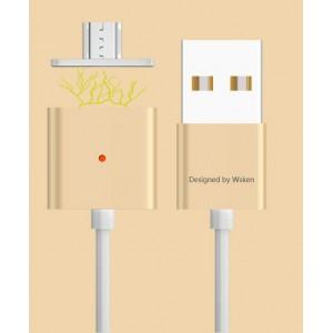 Эксклюзивный инновационный магнитный зарядный симметричный смарт-кабель USB-MicroUSB 2.0 1м для мгновенного подсоединения гаджета Бежевый