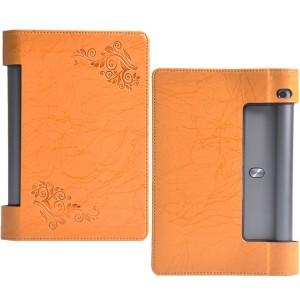 Текстурный чехол подставка с рамочной защитой и принтом для Lenovo Yoga Tab 3 8 Оранжевый