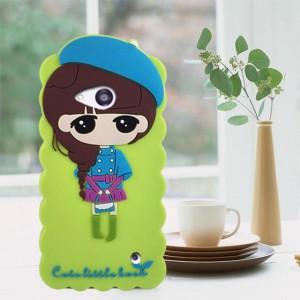 Силиконовый дизайнерский фигурный чехол для Microsoft Lumia 550 Зеленый