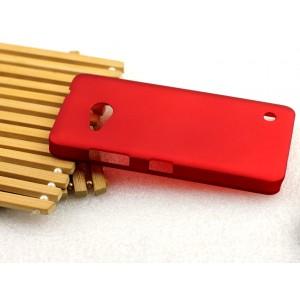 Пластиковый матовый металлик чехол для Microsoft Lumia 550 Красный