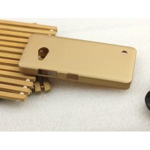 Пластиковый матовый металлик чехол для Microsoft Lumia 550 Бежевый