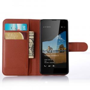 Чехол портмоне подставка с защелкой для Microsoft Lumia 550 Коричневый