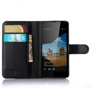 Чехол портмоне подставка с защелкой для Microsoft Lumia 550 Черный