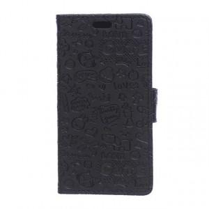 Чехол портмоне подставка на силиконовой основе с защелкой и рельефным принтом для Microsoft Lumia 550 Черный