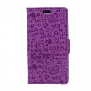 Чехол портмоне подставка на силиконовой основе с защелкой и рельефным принтом для Microsoft Lumia 550