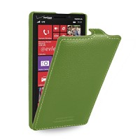 Кожаный чехол книжка вертикальная (нат. кожа) для Nokia Lumia 930 зеленая