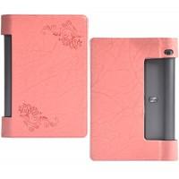 Чехол подставка с рамочной защитой экрана и рельефным принтом для Lenovo Yoga Tab 3 10 Розовый