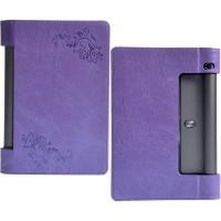 Чехол подставка с рамочной защитой экрана и рельефным принтом для Lenovo Yoga Tab 3 10 Фиолетовый